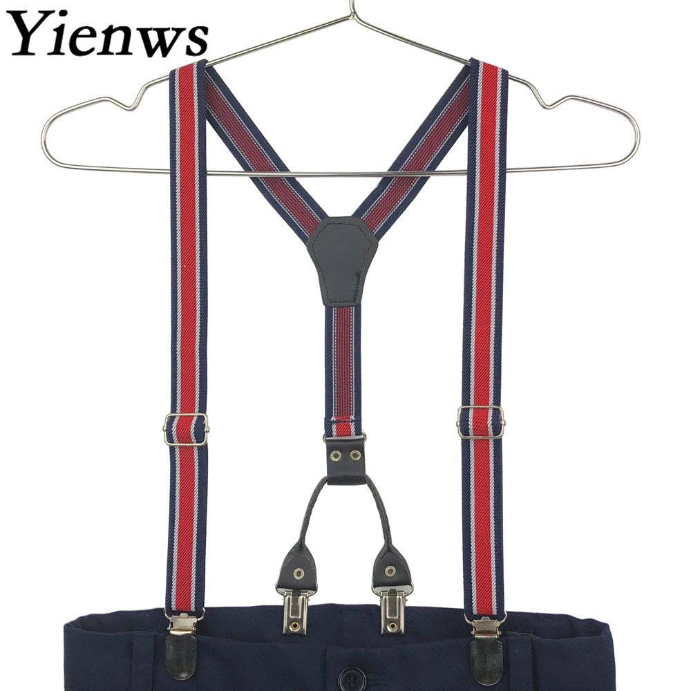 Yienws Baby Jungen Hosenträger 4 Clip Elastische Hosen Hosenträger Für Kinder Stilvolle Gestreifte Hosenträger Kinder Szelki Dla Dzieci Yia101 Buy One Give One
