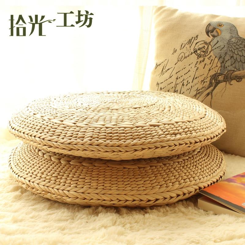 Handmade Circle Grass Meditation Cushion Straw Mats Japanese Floor Cushions Tatami Futon Yoga personalized love blanket