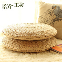 Handmade Circle Grass Meditation Cushion Straw Mats Japanese Floor Cushions Tatami Futon Yoga