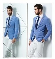 New design Fashion Party Mens slim fit blazer Suit Jacket plus size light blue blazer