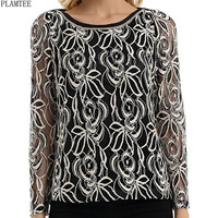 PLAMTEE S~5XL Women Blouses Floral Lace Shirt Female 2017 Long Sleeve Camisa Mujer Black/White Chemise Femme New Blusas Feminina