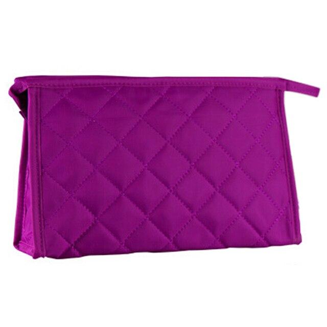 """Wholesale 10* 10.6"""" Long Grid Pattern Rectangle Shape Makeup Zipper Bag Purple for Woman"""