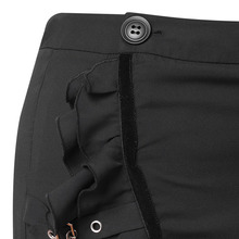 Women's Plus Size Asymmetrical Black Midi Skirt with Ruffles