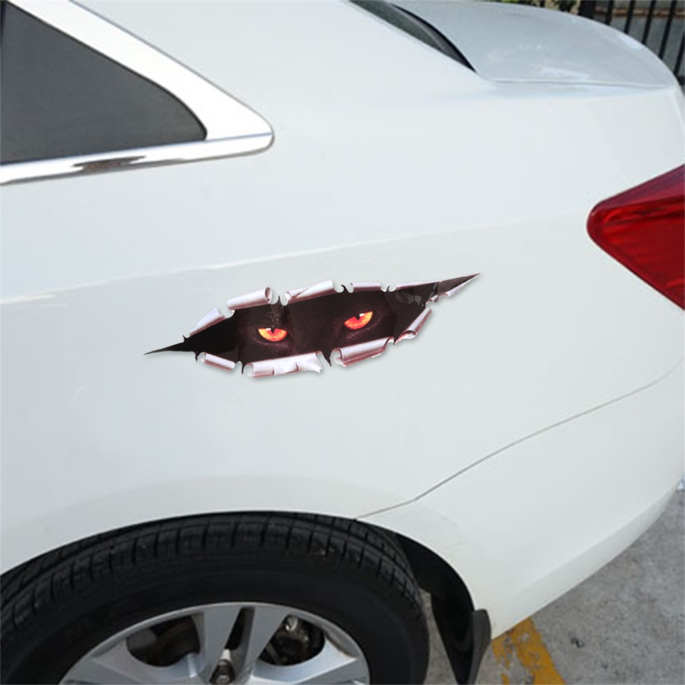Cool 3d Car Styling Funny Cat Eyes Peeking Car Sticker Waterproof Peeking Monster Auto