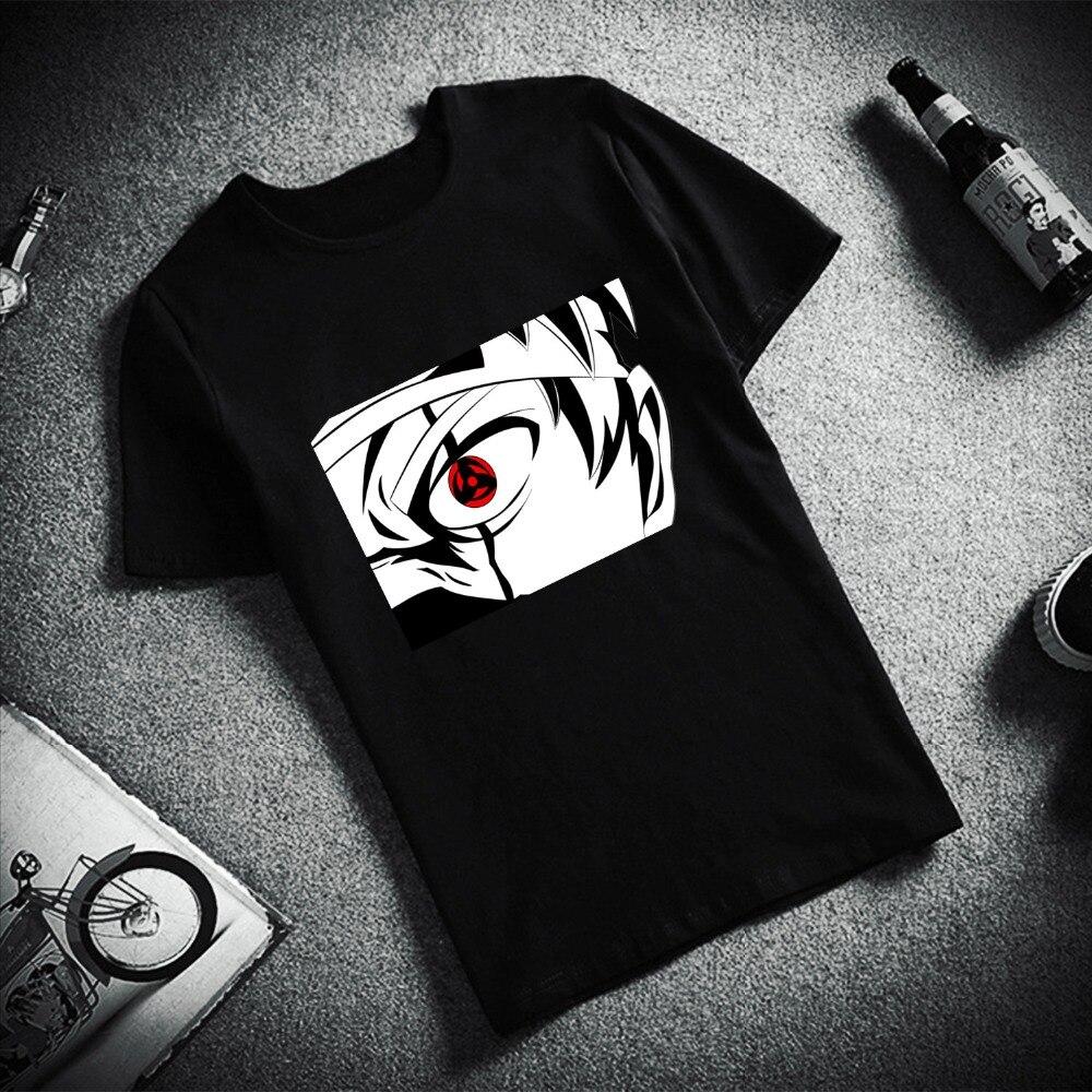 Модная мужская футболка с коротким рукавом Учиха глаза Наруто Узумаки обувь для косплея героя Хатаке Какаси из аниме «Наруто печатных 100% хлопковые топы, футболки, мужская футболка