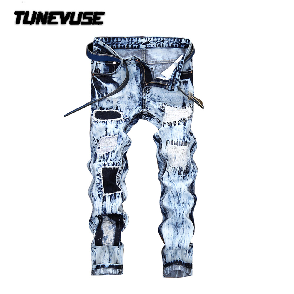 ФОТО 2017 Fashion White Blue Jeans Men Denim Blue Ripped Jeans Trousers 28-36 High Quality Cotton Mens Brand Hip hop Jeans LY167