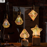 3D Led Bulb Star E27 Vintage Edison Night Light Colorful Bombillas Retro Glass Lampara Ampoule Christmas