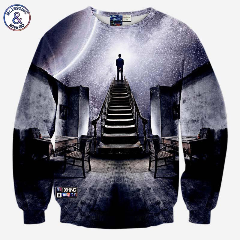 Mr.1991INC Very popular style Mens 3d sweatshirts print A person watch the space meteor shower casual Stairs ladder hoodies