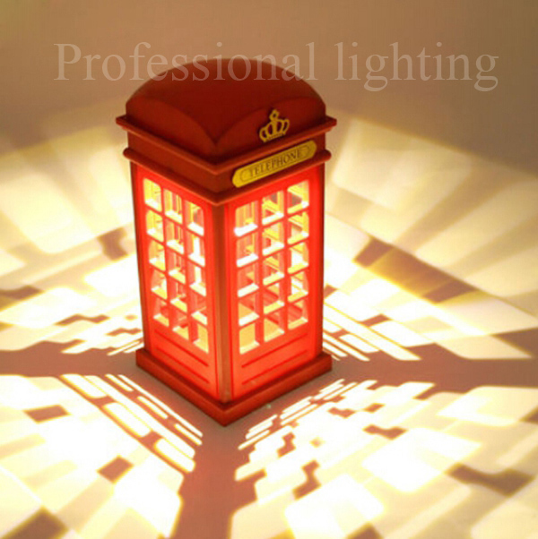 Retro London Telephone Booth Night Light Design Usb Rechargeable Led Touch Dimmable Lamp Free