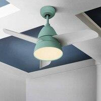 Nordic Restaurant Ceiling Fans Lamp Simple Modern Living Room Bedroom Ceiling Fan LED Remote Control Color Fan Macaroon Modern
