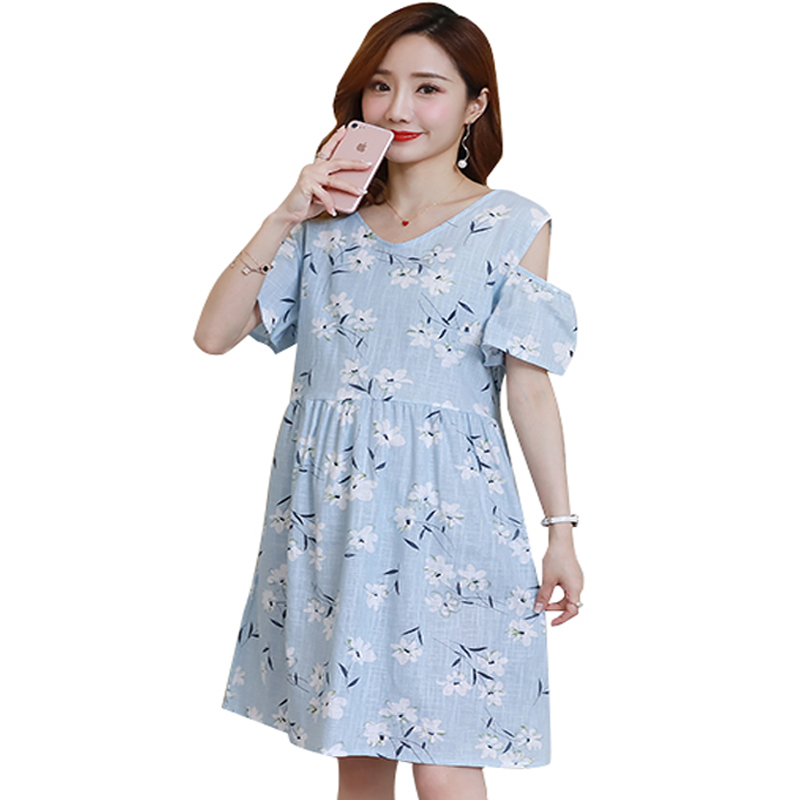 Ties Waist Floral Printed Cotton Linen Maternity Dresses Summer Nursing Clothes for Pregnant Women Pregnancy Off Shoulder 2018