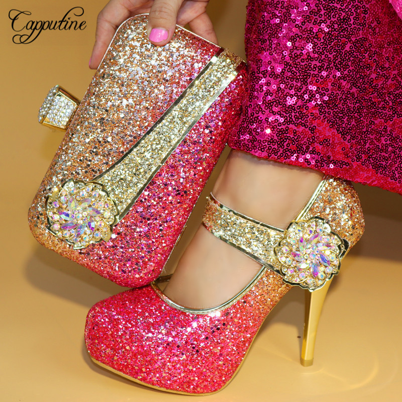 Capputine Italian Colorful Rhinestone Shoes And Bags Set For Wedding Fashion African High Heels Party Shoes And Bag Sets TX-861 capputine italian fashion design woman shoes and bag set european rhinestone high heels shoes and bag set for wedding dress g40