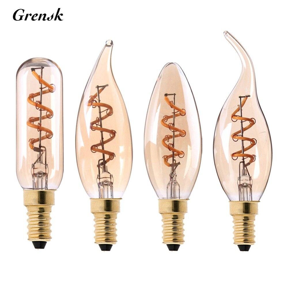 T25 C35 C32T C35T,Spiral Edison LED Filament Light Bulb,3W 2200K,Retro Vintage Lamps,Decorative Lighting,Dimmable