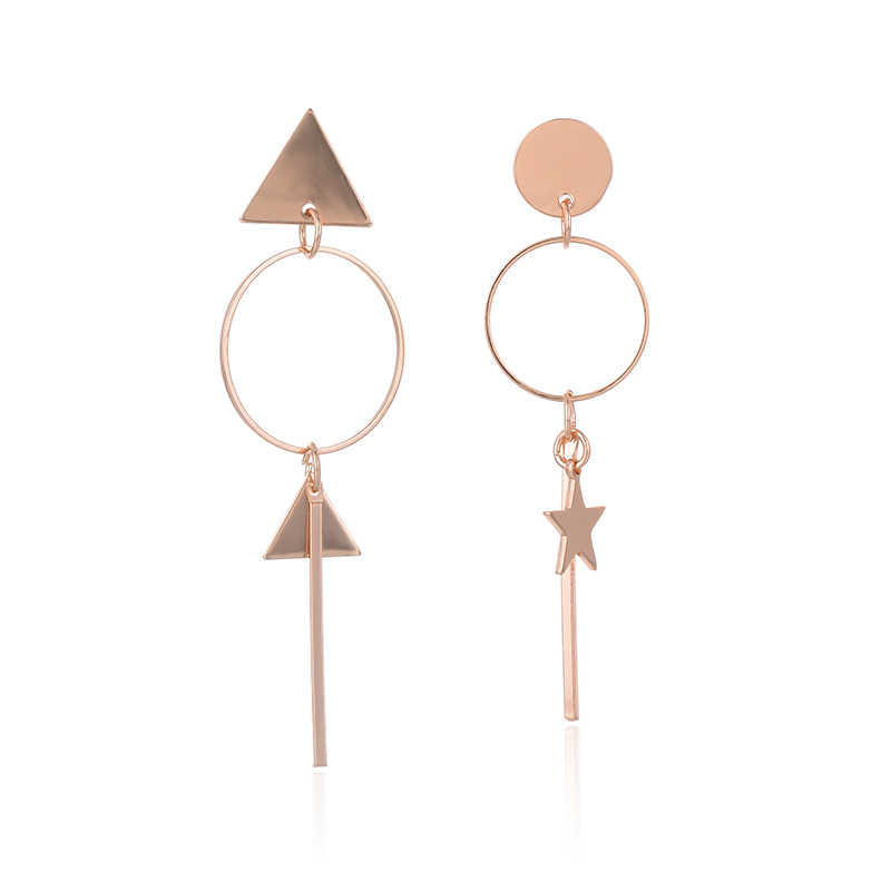 SUKI Aretes de Mujer Modernos 2018 Asymmetrical Hanging Star Triangle Long Pendant Earrings for Women Small Circle Stud Earrings
