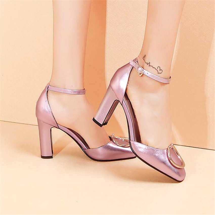 ZOUDKY Inside of leather shoes and high heels with thick shallow mouth hollow female hasp sandals