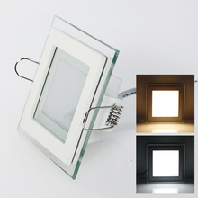 6 Вт, 9 Вт, 12 Вт, 18 Вт, 24 Вт, светодиодный светильник с регулируемой яркостью, квадратное стекло, потолочные светильники высокой яркости, 3000 K, 4000 K, 6000 K, встраиваемые лампы