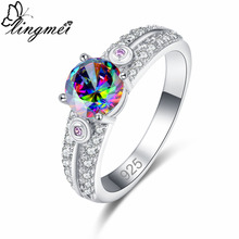 lingmei New Vogue Simple Round Multicolor & White Purple CZ Silver Color Ring Size 6 7 8 9 Classic Women Jewelry Christmas Gift