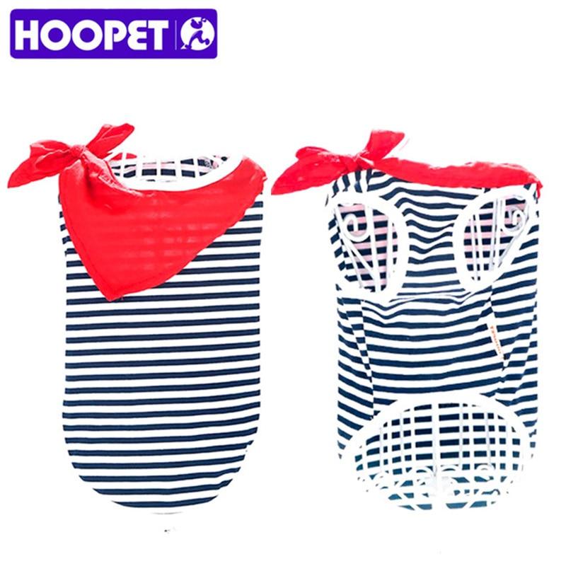 HOOPET nuevo perro chaleco perros ropa camisa rayada del marinero para mascotas gato traje rojo verano y Primavera Azul