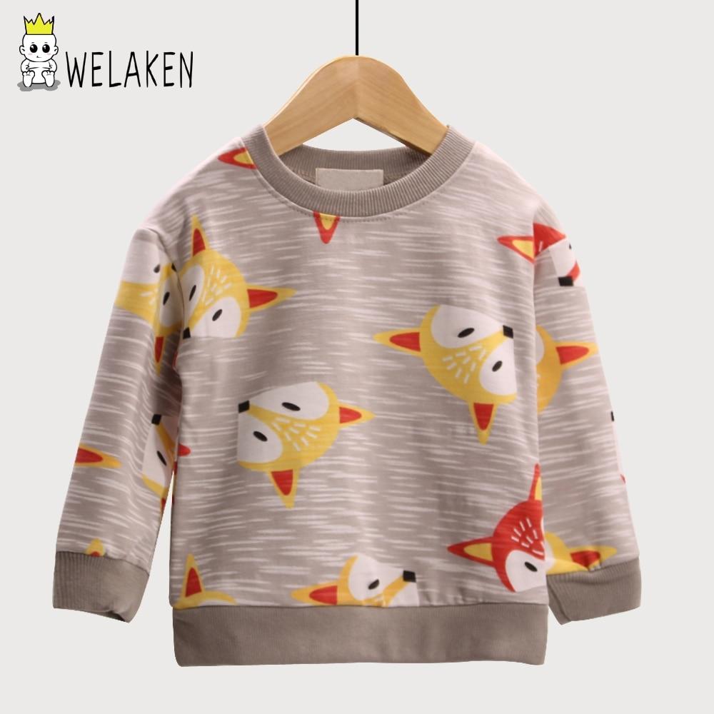 цена weLaken Boys Casual Coat Cartoon Animal Fox Pattern Girls Hoodies Outwear Spring Children's Clothing Kids Long Sleeve T-shirt в интернет-магазинах