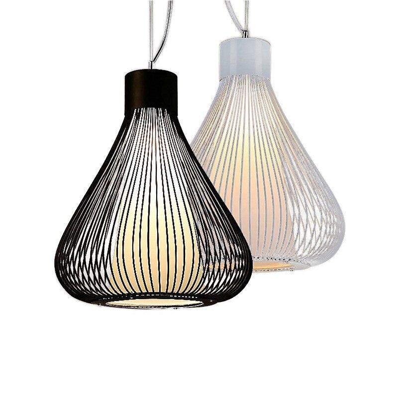 Lampes suspendues industrielles noir blanc Cage à oiseaux Suspension lumière rétro Restaurant hôtel couloir lampe suspendue lampe pendante No101