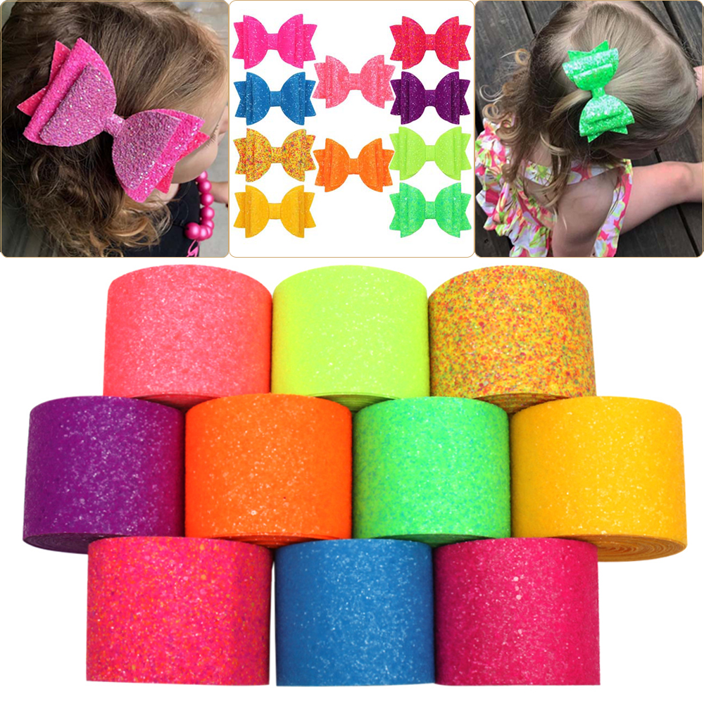 Cheerbows 2yards/75mm Neon Chunky Glitter Ribbon Shiny DIY Hairbows Ribbon Handmade Bags Shoes Materials Gifts Packing Wrapping