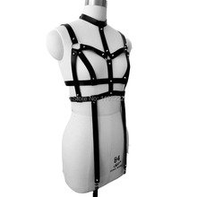 Punk Rock Gothic Handmade 100% Fashion Studs Leather Body Bondage Cage Harness Choker Bra Chest Sculpting Belt Garters
