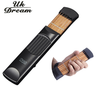 Portable Pocket Acoustic Guitar Practice Tool Gadget with Carrying bag High Quality 6 String 4 Fret Model for Beginner