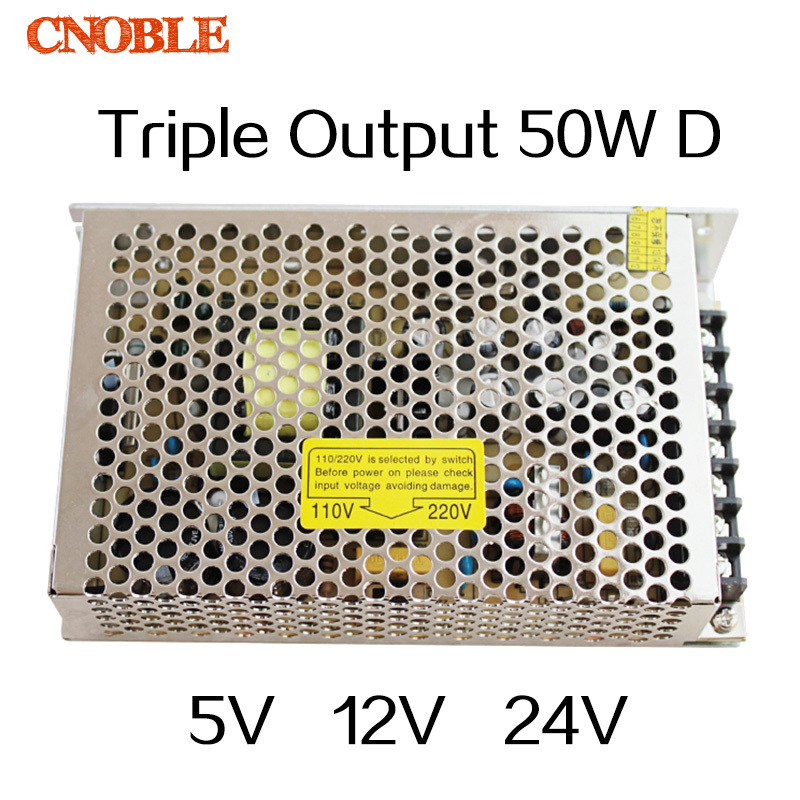 T 50W D Triple output 5V 12V 24V Switching power supply smps AC to DC meanwell 12v 350w ul certificated nes series switching power supply 85 264v ac to 12v dc