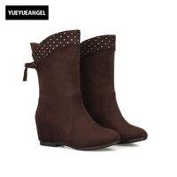 European Fashion Rivet Design Womens Faux Suede Shoes Hidden Heel Boots Womens Autumn Chic Zapatos Mujer