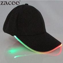 MISSKY LED Light Glow Club Party Sports Athletic Black Fabric Travel Hat