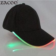 ФОТО zacoo led light glow club party sports athletic black fabric travel hat cap led cap fashion cool baseball cap yi0