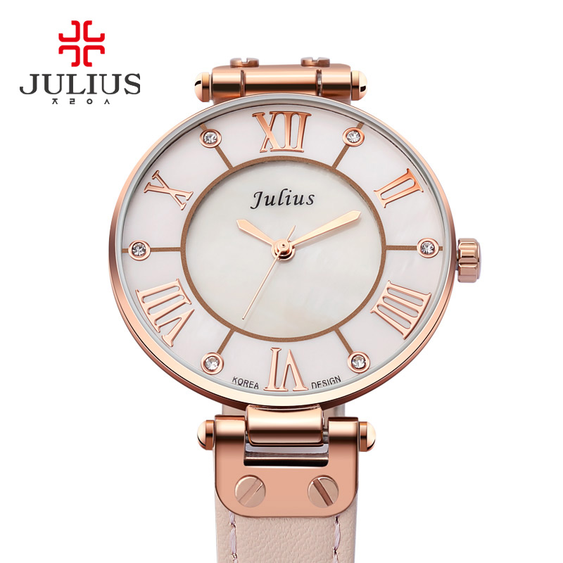 Brand new woman watches Julius Lady Quartz Hours Best Fashion Dress Girl Birthday Gift Leather watch Shell Retro Rome Wristwatch светильник 369862 grape novotech 927289