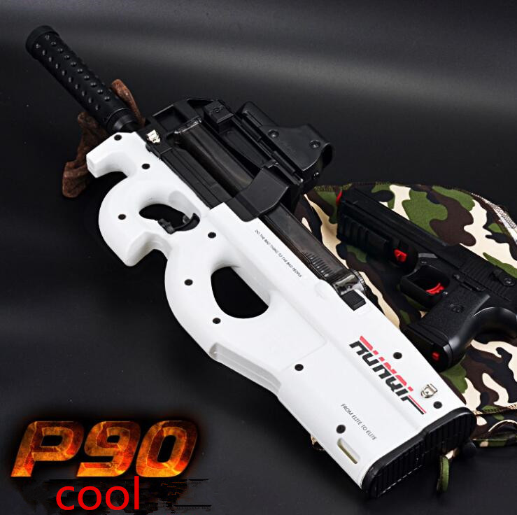 White Graffiti Edition P90 Electric Toy Gun Paintball Live CS Assault Snipe Weapon Soft Water Bullet Bursts Gun Outdoors Toy