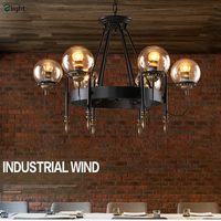 American Industrial Style Plated MODO Glass Ball Chandelier Painted Iron Lustre Led Pendant Chandelier For Bar Cafe