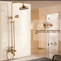 Wholesale And Retail Antique Brass 8 Round Rainfall Shower Head Blue And White Porcelain Base Tub
