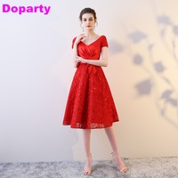 Sexy Plus Size New Items Short Sleeves Lace Up Red grils Formal Party Homecoming Prom Dresses Evening Gowns for Women XS5