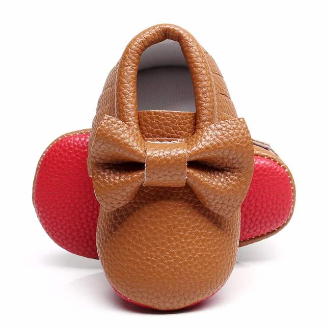 90d61b61a1e placeholder New Red bottoms Bow Leather shoe Newborn Baby Girl Baby  Moccasins Soft boys Shoes Bebe Fringe