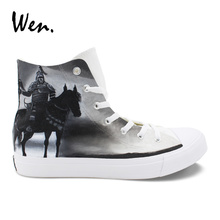 Wen White Canvas Vulcanize Shoes Hand Painted Sneakers Knight Warrior Horse Design Personalized Casual Flat Laced High Loafers