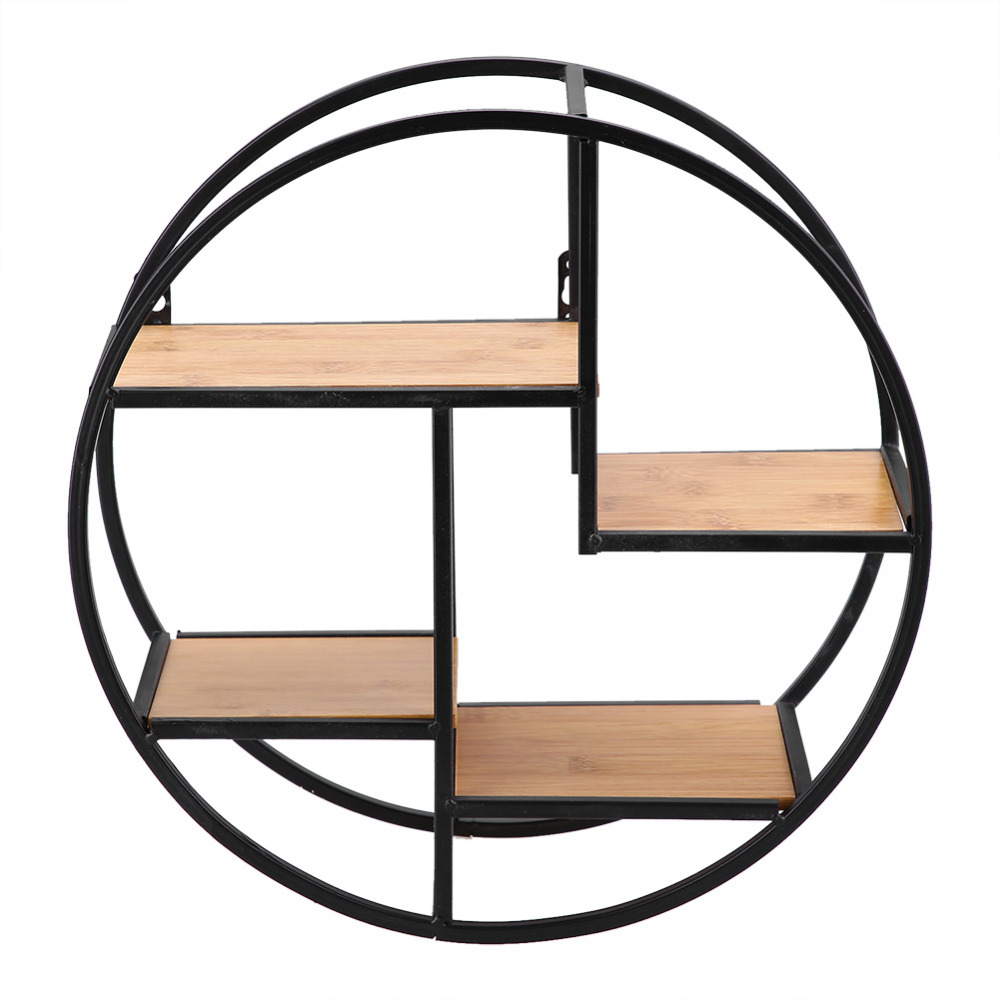 Us 1106 28 Offindustriële Stijl Hout Ijzer Craft Ronde Muur Plank Display Rack Opslag Opknoping Kast Antieke Rek Bloempot Houder Decror In