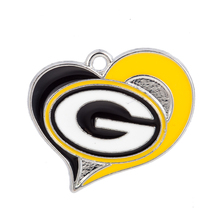 Heart Football Green Bay Packers Team Logo Dangle Charm Alloy Enamel Charms Jewelry Diy Sports Bracelet