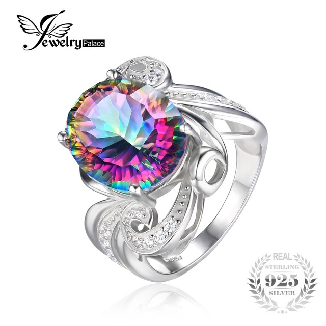925 Sterling Silver Rainbow Mystic Topaz Ring