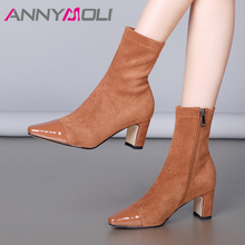 ANNYMOLI Genuine Leather Ankle Boots Women Zipper Block High Heels Short Boots Stretch Square Toe Shoes Ladies Black Size 34-39 fashion square toe women booties chunky high heels back zipper ladies shoes geninue leather ankle boots women black white brown