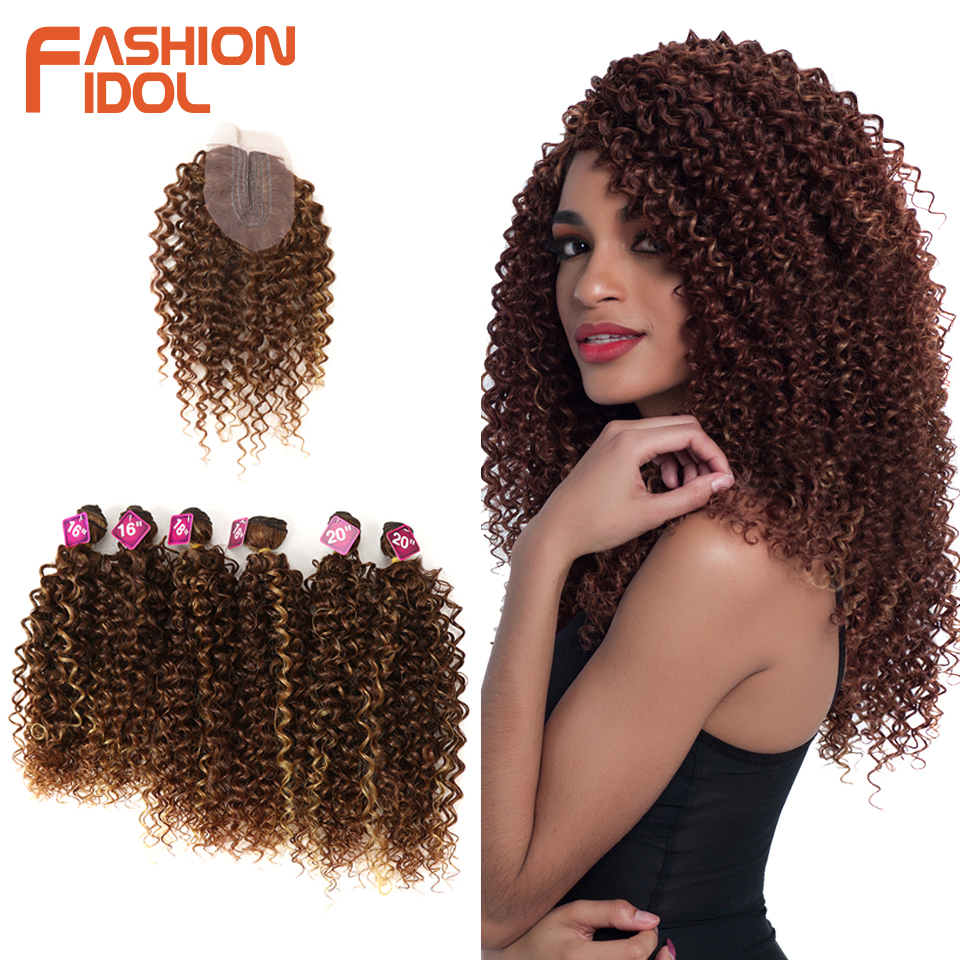FASHION IDOL Afro Kinky Curly Hair 16-20inch 7Pieces/lot Synthetic Hair Middle Part Lace Front Closure Bundles With Closure 240g title=