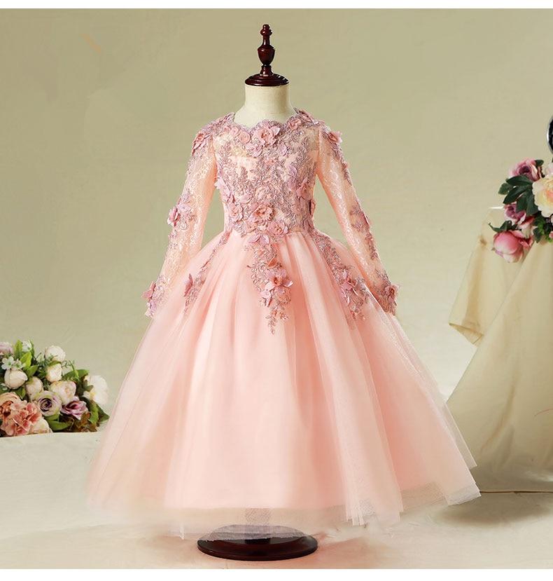 Elegant Pink Tulle Flower Girl Dress For Wedding Long Sleeve Appliques Kids Party Prom Dress