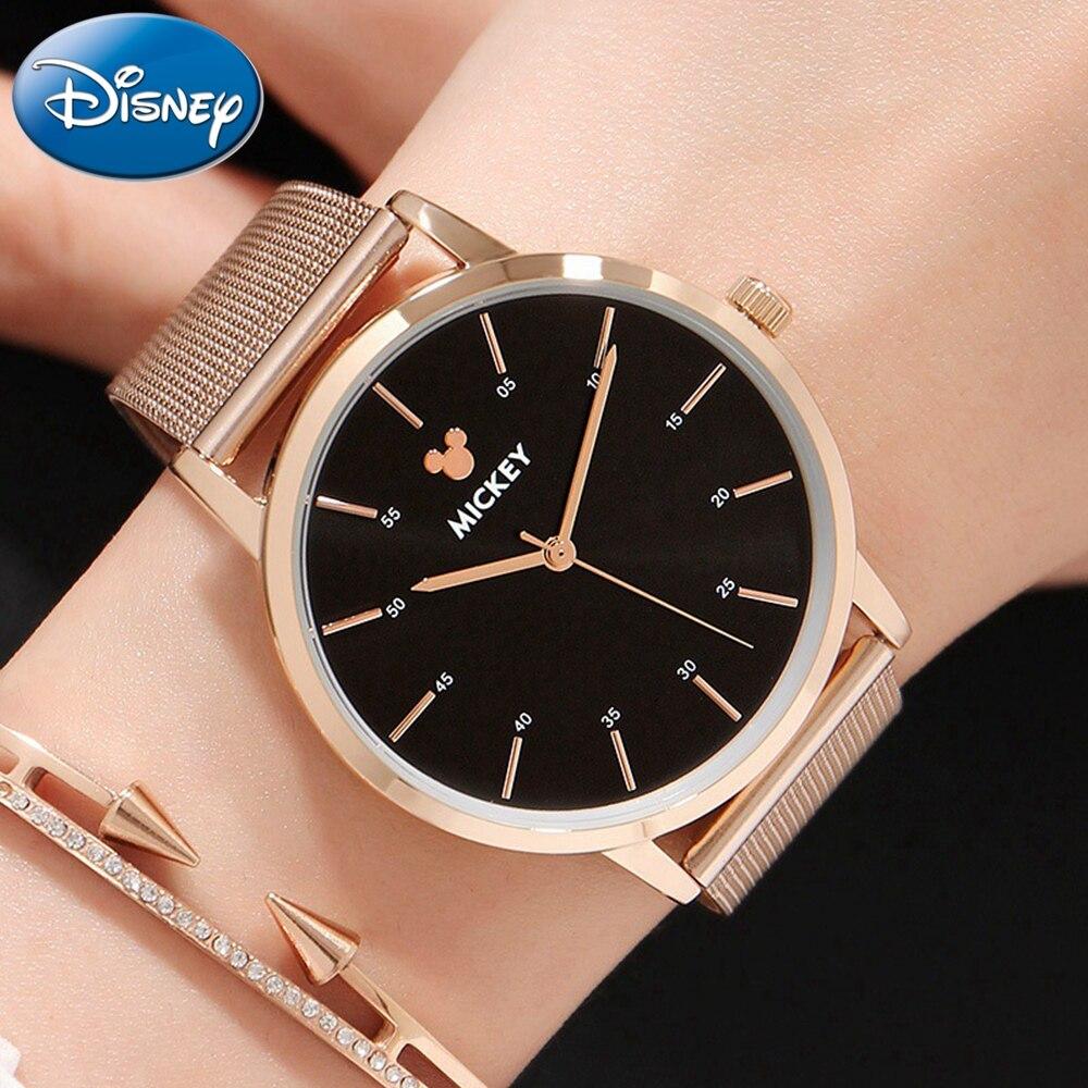 Origina ディズニー女性ブレスレット鋼メッシュバンドクォーツ腕時計女性のファッションの高級品質腕時計レディースミッキーブランド時計  グループ上の 腕時計 からの レディース腕時計 の中 1