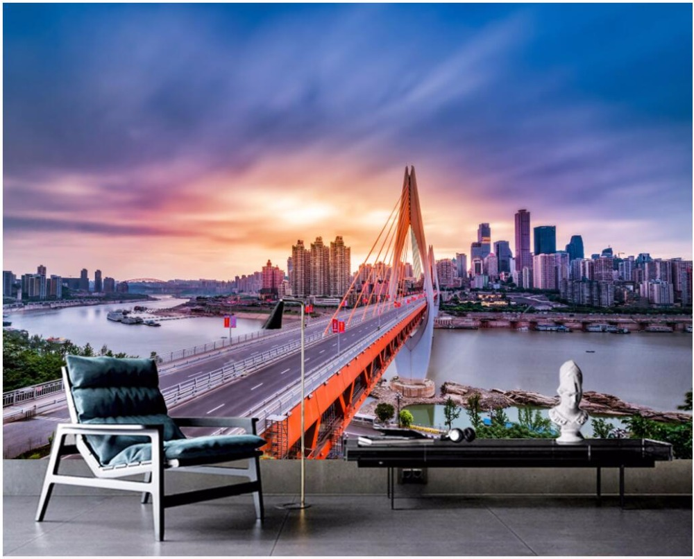 building wallpaper bridge: 3d Wallpaper Custom Mural Photo High Rise City Bridge