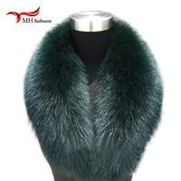 New 100 Natural Fur Collar Luxury Green Fox Fur Collar Ring Scarf Women Genuine Fox Fur