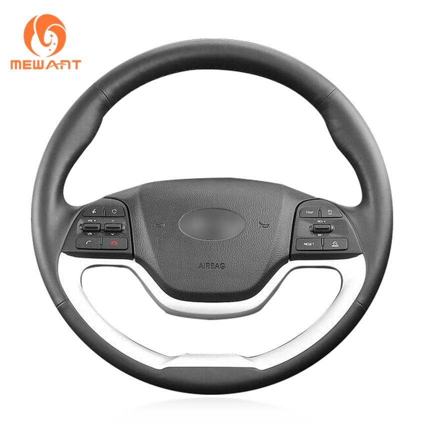 MEWANT Black Artificial Leather Car Steering Wheel Cover for Kia Morning 2011-2016 Picanto 2012-2015 масляный насос рулевого управления с усилителем kia picanto morning sa 2005 2010 5710007000