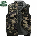 AFS JEEP Falow Mandarin Collar Thick Camouflage Cargo Vest,Winter Man's Military Cardigan Coats,Motorcycle Loose Overall Coat