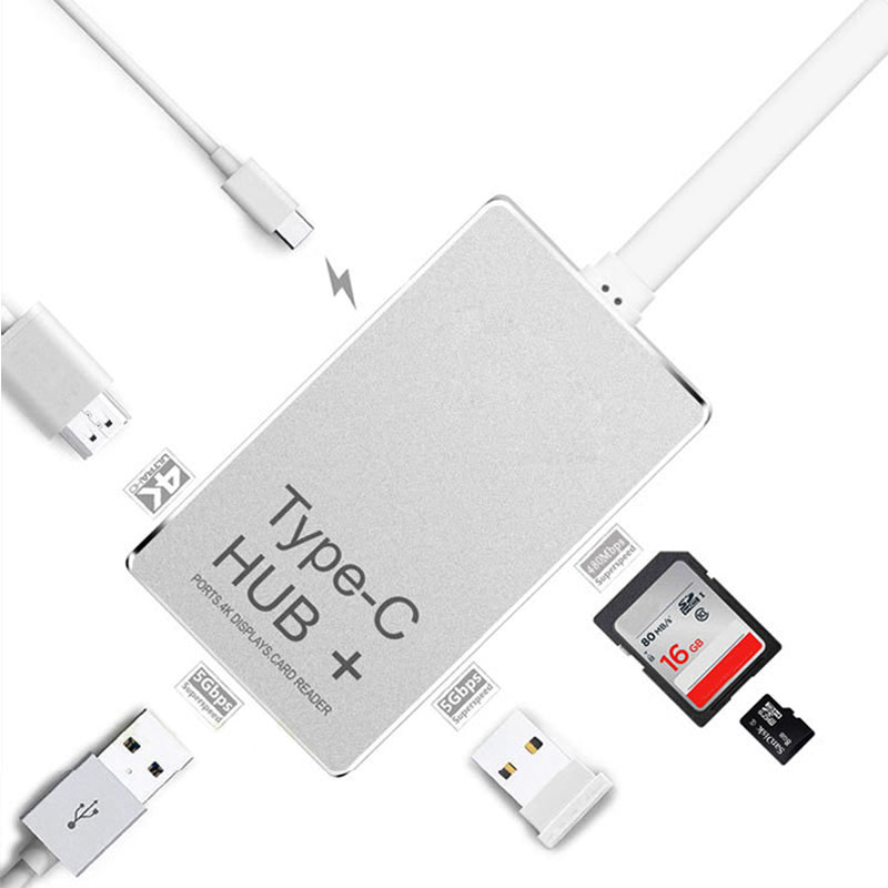Type-C to 4K HDMI PD Chargeging HUB Adapter USB-C 3.1 Converter SD/TF Card Reader For Macbook QJY99 havit 6 in 1 pd charging 40gb 4k video output thunderbolt 3 type c sd microsd card reader usb 3 0 hub for macbook pro1315 t90